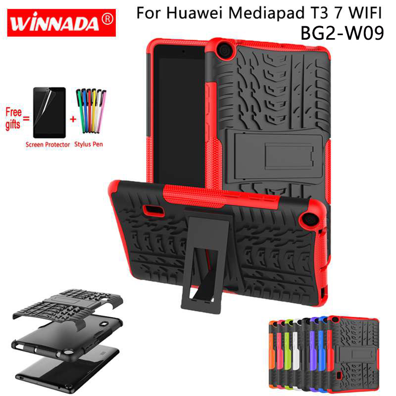 For Huawei MediaPad T3 7.0 Case For Honor T3-7 Wifi BG2-W09 Tablet Armor Case Silicone TPU+PC Shockproof Stand Cover +Film+Pen