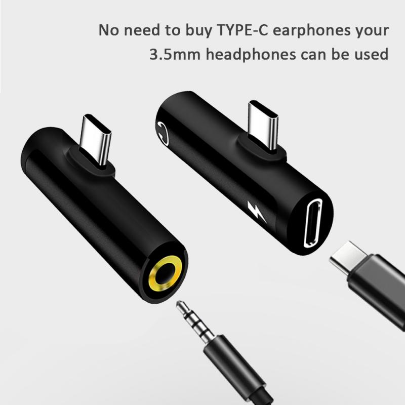 Type-C 2 In 1 Type C To 3.5mm Jack Audio Adapter Earphone Charge Converter Headset Charging For Samsung Xiaomi Huawei