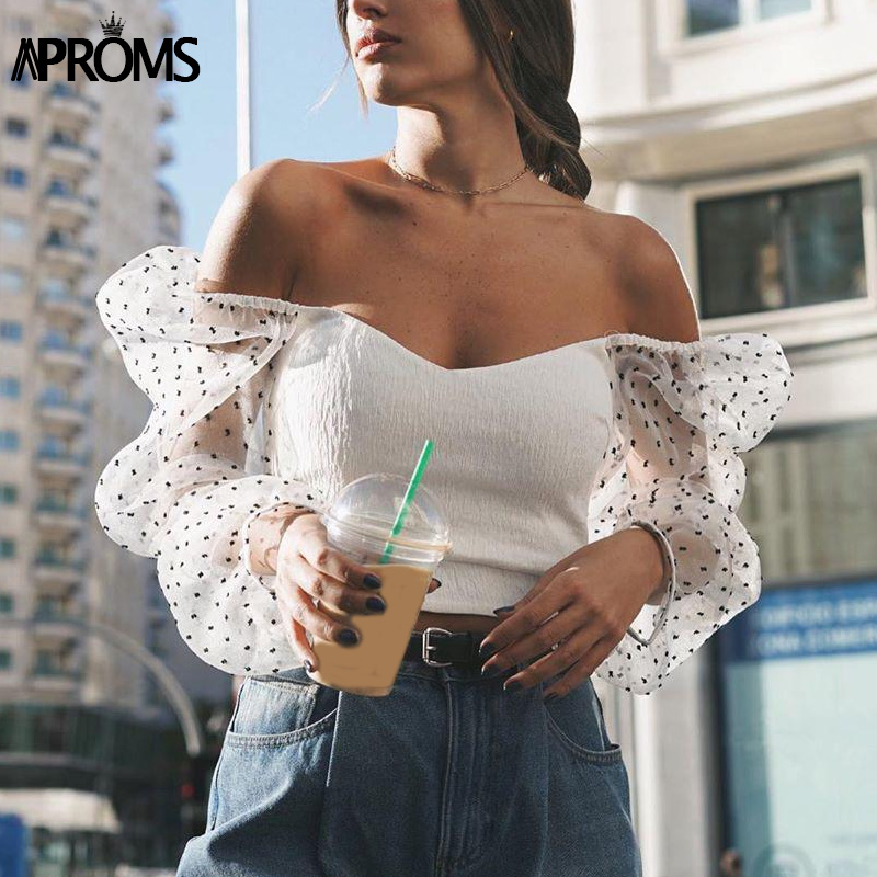Aproms Black Polka Dot Mesh Blouse Women Vintage Square Neck Long Puff  Sleeve Bodycon Shirt Feamle Summer White Tops Blusa 2020