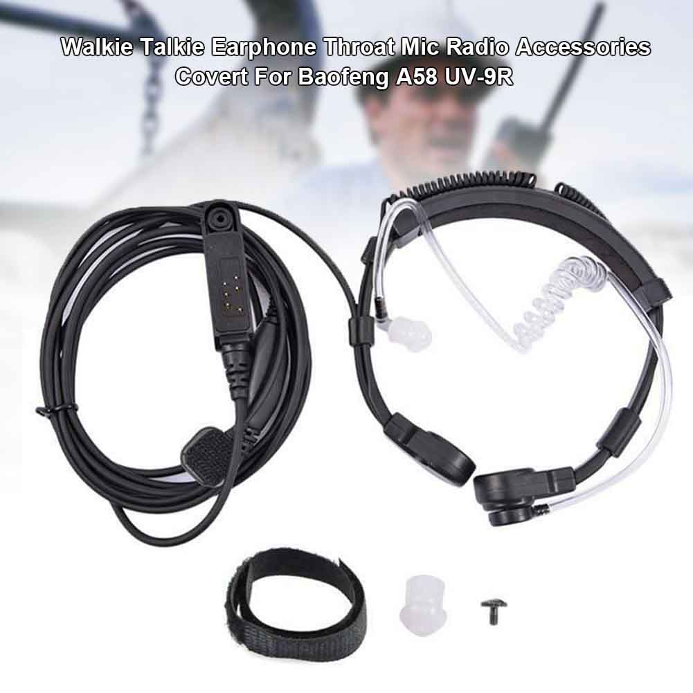 Throat Mic Waterproof Radio Walkie Talkie Earphone Retractable Hands-free PTT Portable Air Acoustic Tube For Baofeng A58 UV-9R