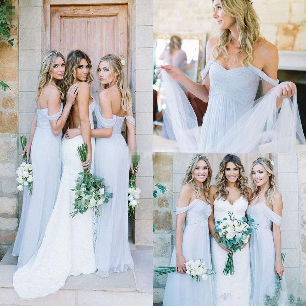 2020 Sky Blue Off Shoulder Beach Boho Long Bridesmaid Dresses Bohemian Wedding Party Guest Bridesmaids Gowns Cheap
