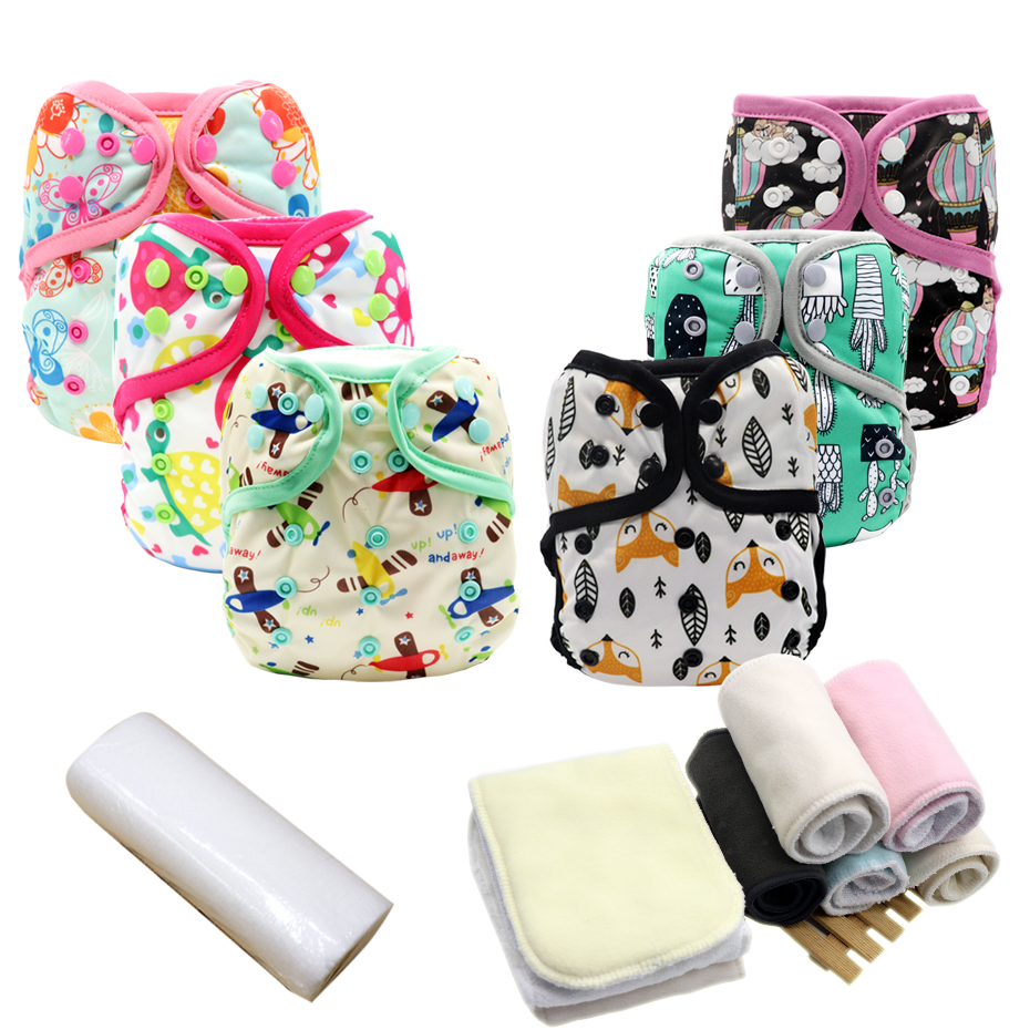 MABOJ Cloth Diaper Cover Nappy Cover Reusable Diapers One Size PUL Washable Waterproof Newborn Cloth Diapers Baby Inserts Bamboo