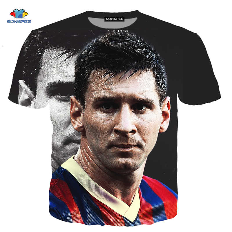 SONSPEE Men's Shirt Messi T-Shirt Summer Fashion Footbal Lionel Messi 3D Print Element Short Sleeve T-Shirt Kids Christmas Gifts