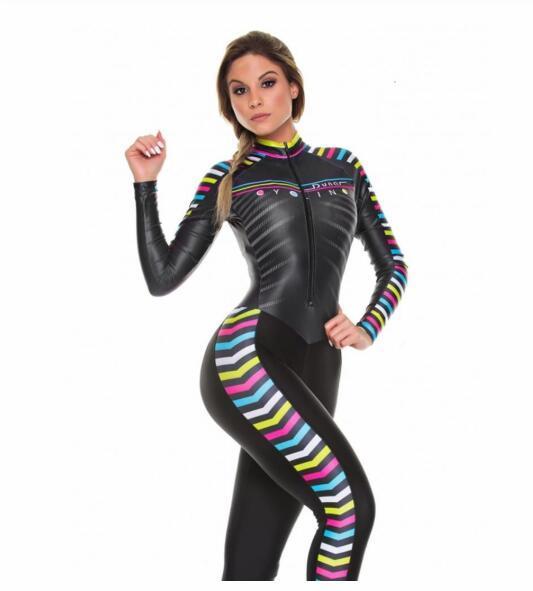 2019 pro equipe triathlon terno feminino ciclismo manga longa camisa skinsuit macacão maillot ciclismo ropa ciclismo conjunto gel 4