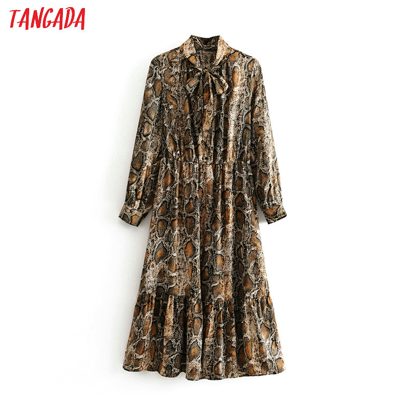 Tangada Women Snake Print Midi Dress Long Sleeve 2019 Autumn Winter Vintage Bow Tie Lady Female Dress Vestidos 3H03