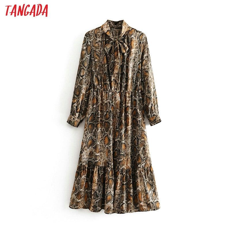Tangada Women Snake Print Midi Dress Long Sleeve 2019 Autumn Winter Vintage Bow Tie Lady Female Dress Vestidos 3H03