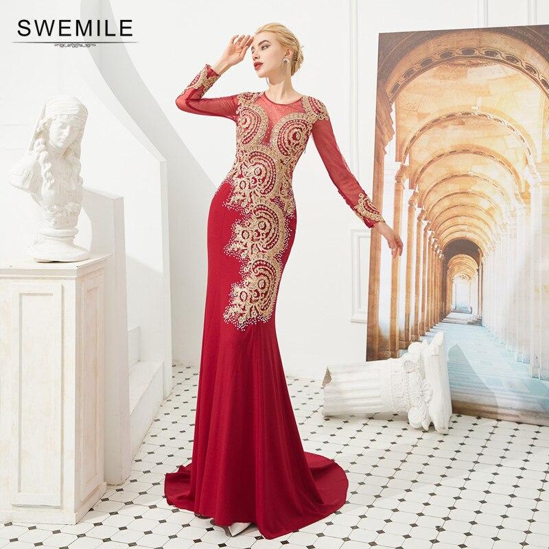 Robe De soirée élégante en dentelle or sirène rouge Robe De soirée Sexy dos transparent à manches longues robes De soirée