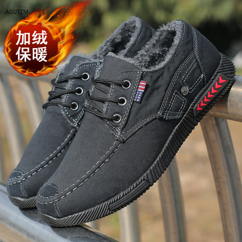 New canvas shoes deodorant breathable Keep warm velvet men's shoes non slip  male students tie