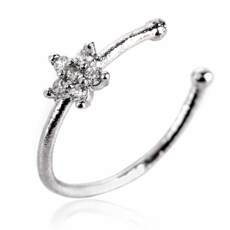 1 Uds. Aro nasal de acero inoxidable Clip en falso Piercing Circular Punk pequeño Delgado transparente Diamante de imitación flor labio oído caliente