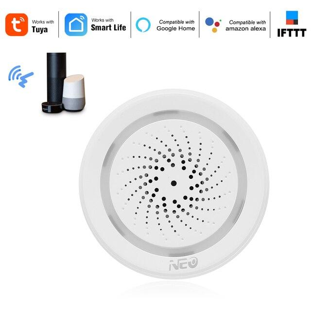 ワイヤレス wifi サイレンセンサー温度湿度警報スマートチュウヤサイレン amazon の google ホームアシスタント ifttt