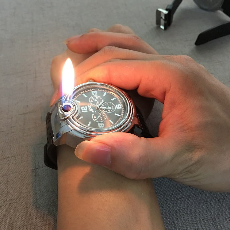 1PC Watch Inflatable Butane Lighter Metal Cigarette Electronic Cigarette Lighter Toys Gadget Men No Gas Gags Practical Jokes
