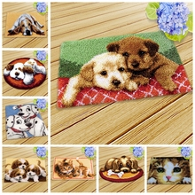 Cat Dog Klink Haak Kussen Bloem Kit Almofadas Smyrna Knooppakket Kleed Bloemen Kits Diy Needlework Mat Embroidery 3D