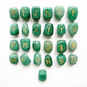Натуральный зеленый авантюрин Кристалл руны камни набор барабанные камни полированный скандинавский Викинг руны амулет гадания ремесла 25 ...
