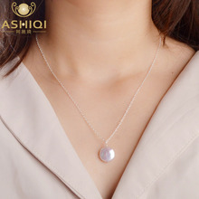 ASHIQI 12-13mm Big Natural Button Freshwater Pearl Necklace Pendant 925 Sterling Silver Jewelry Fash