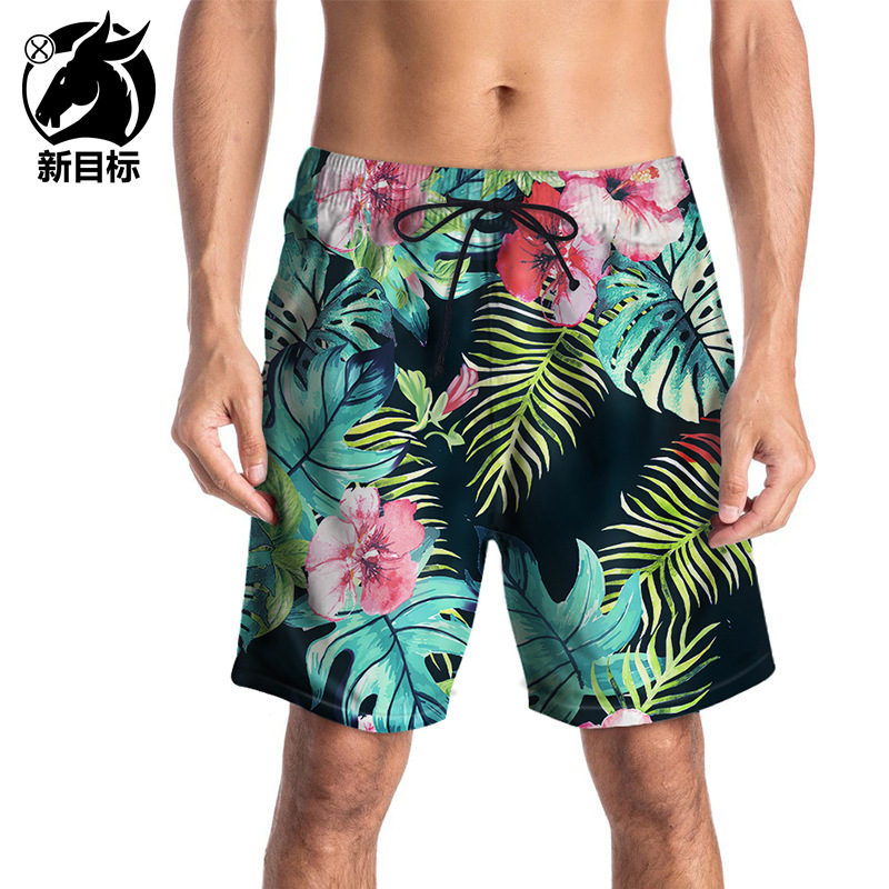 Ouma Beach Shorts 2019 Summer New Style Men Quick-Dry Shorts 3D Plant Printed Swimming Trunks Casual Popular Brand Men'S Wear
