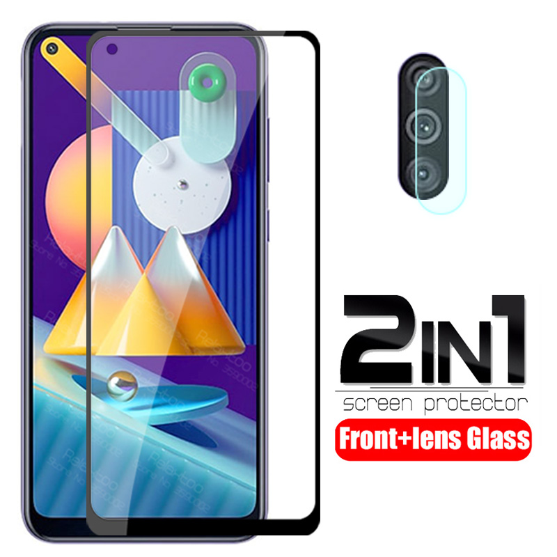 2 In 1 Camera Lens Protective Glass For Samsung Galaxy M11 M 11 SM-M115F M115F 6.4