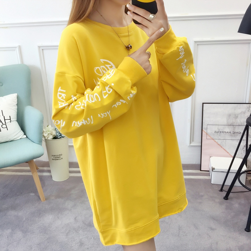 2019 autumn new Korean version of the XL T-shirt women's thin section long-sleeved loose hole wild T-shirt shirt women 62
