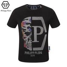 Philipp Plein-T-shirt de mode américaine européenne demi-visage crâne diamant chaud T-shirt à manches courtes t-shirts d'été haut