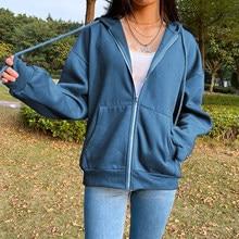 Biggorange brown zip up moletom jaqueta de inverno roupas oversize hoodies feminino plus size bolsos vintage manga comprida pullovers