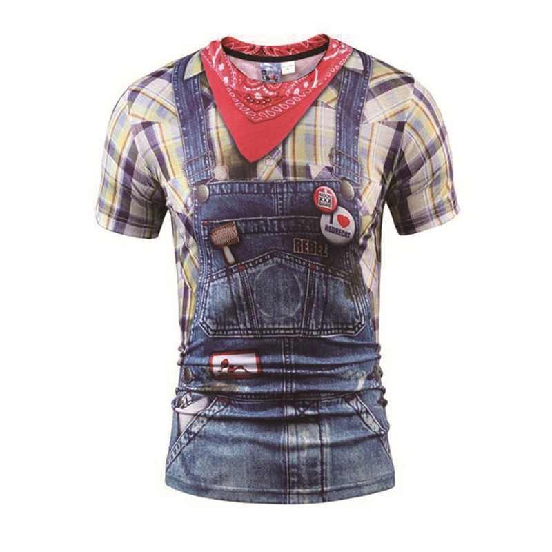 Fashion Hitam/Kotak Merah Lengan Pendek 3D Dicetak Lucu Tshirt Men Kasual Musim Panas T-shirt untuk Pria O-neck Tops Tee merek Plus Ukuran