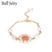 BaliJelry Trendy biżuteria srebrna bransoletki damskie naturalna perła słodkowodna kryształowe dodatki do kamieni szlachetnych na ślub