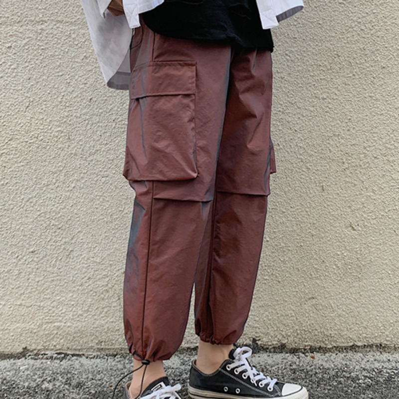 Cotton Straight Casual Pants Men's Fashion Solid Color Multi-pocket Overalls Men Streetwear Loose Hip-hop Elastic Waist Trousers
