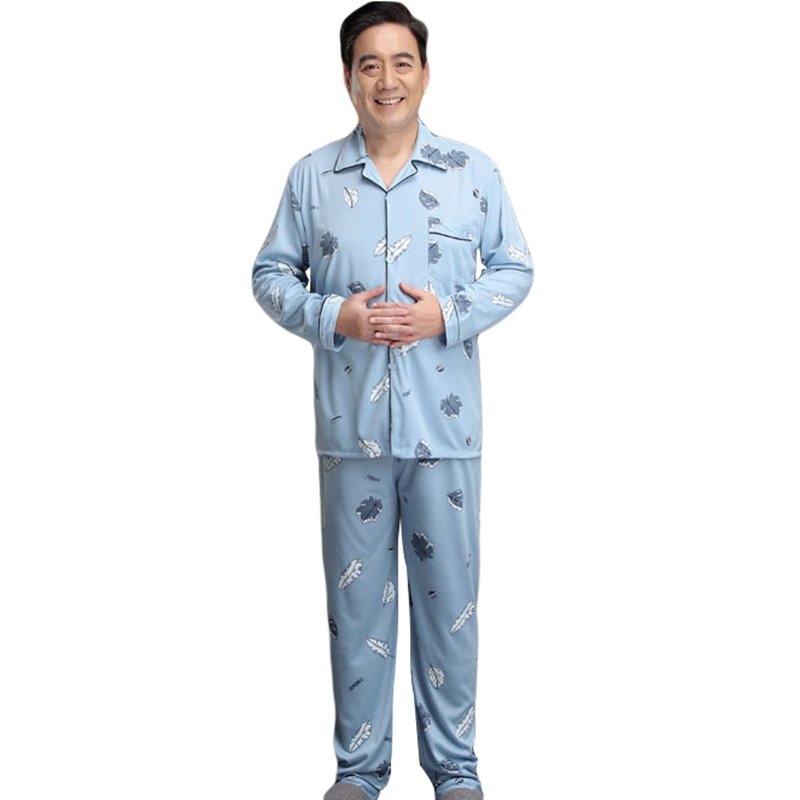 Men Sleepwear Pajama-Sets Homewear-Suits Male Button For Nightgown-Autumn-Button