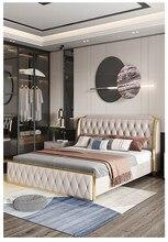 Luz italiano cama de luxo moderno simples nordic couro cama quarto principal alta caixa armazenamento cabeça camada psorate cama dupla