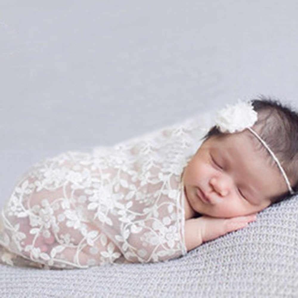חדש נולד צילום תחרה מגבת עם סרט אופנה יילוד יולדות אבזרי תמונה תינוק אבזרי צילום שמיכת # י. ל.