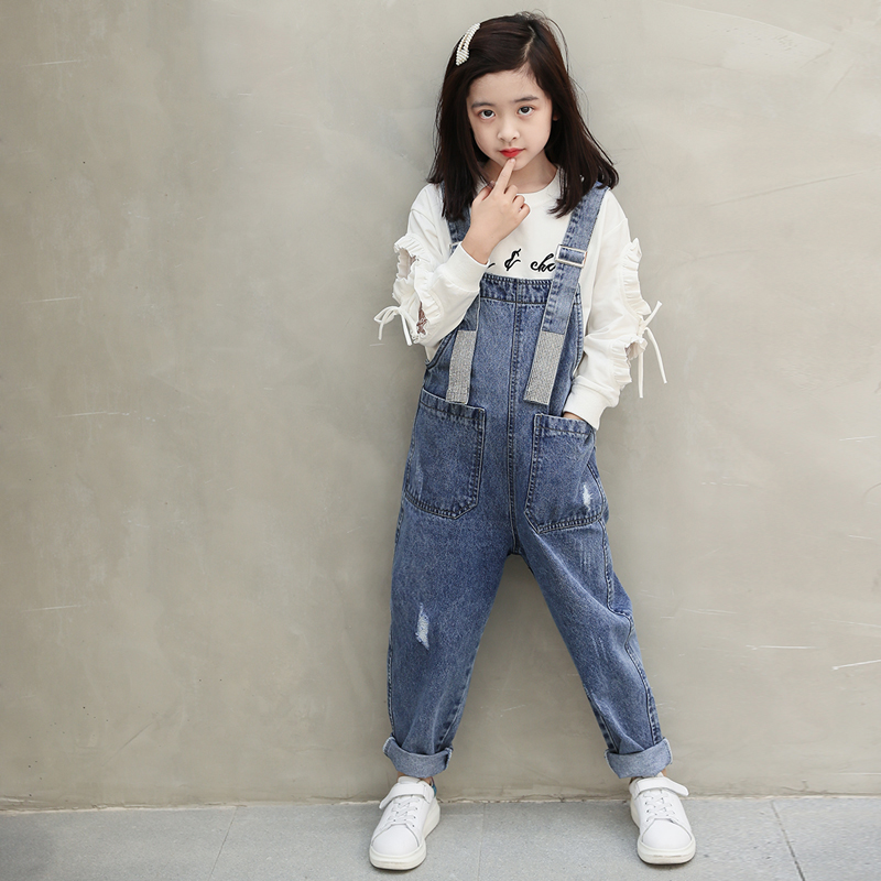 2020 New Fashion Girls Overall Kids Denim Jumpsuit Children Overalls Jeans Spring Fall Jeans Pants Cowboy Pockets Outwears 6-16T