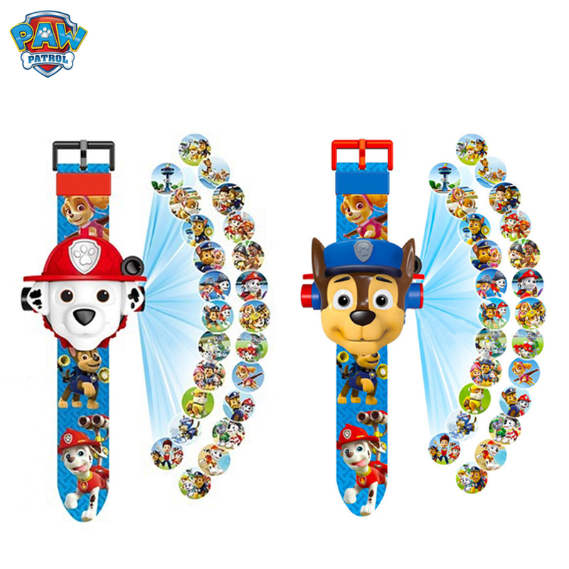 Paw Patrol Puppy Patrol Dog Patrol 3D Projection Cartoon Watch Patrulla Canina Action Figures Kids Children's Christmas Gift Toy