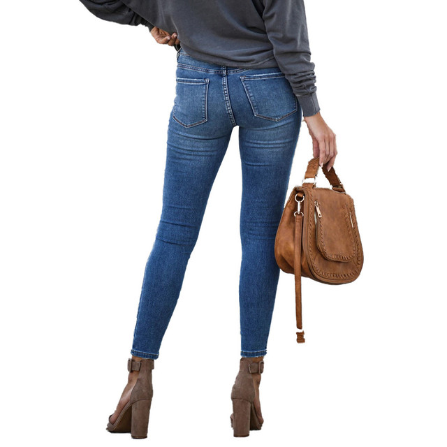 Women Mid Waisted Skinny Denim Button Stretch Slim Pants