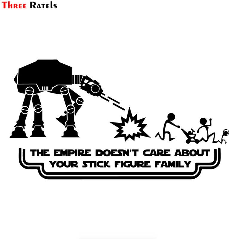 Three Ratels FTZ-31# 20x11cm Star Wars Family The Empire Doesn't Care About Your Family  Funny Car Sticker Auto Vinyl Decal