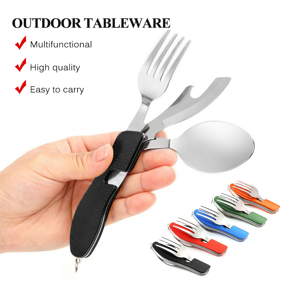 Camping Tableware Outdoor Cooking Supplies 4 In 1 Spoon Folding Pocket for Picnics Hiking Survival Multifunction Kamp Tools