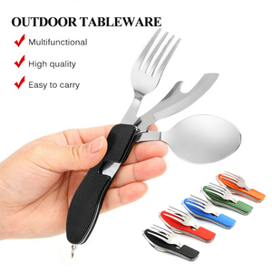 Camping Tableware Outdoor Cooking Supplies 4 In 1 Spoon Folding Pocket for Picnics Hiking Survival Multifunction Kamp Tools(China)