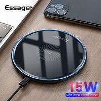 Essager 15W Qi Drahtlose Ladegerät Schnelle Drahtlose Telefon Lade Induktion Pad Für iPhone 12 11 Pro Max X Xiaomi mi 10 Samsung S20