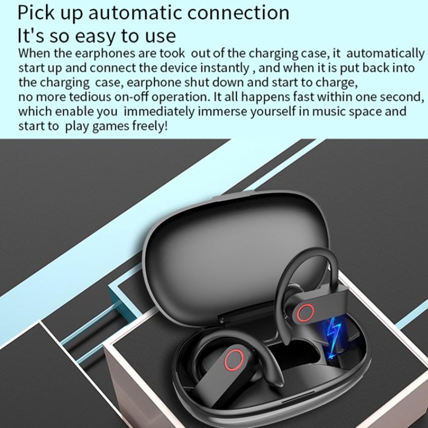 JHO-A9S Bluetooth 5.0 Ear-mounted Wireless TWS Headset HiFi Sound HD Call Dynamic Headphone Auto Connection Ear Hanging Earphone (17)