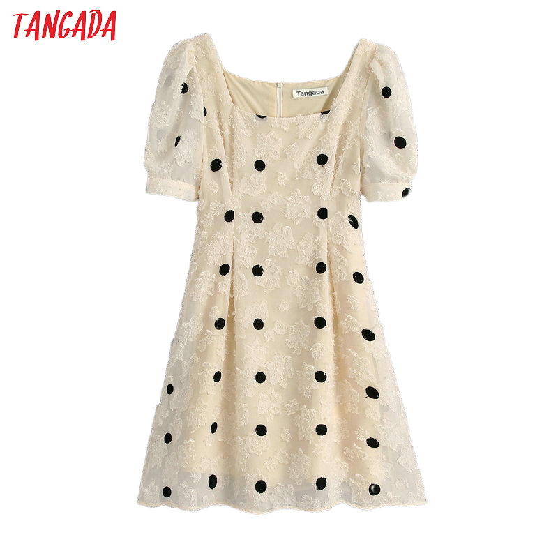 Tangada Fashion Women Embroidery Dots Mini Dress Backless Short Sleeve Ladies Summer Dress Vestidos BE346