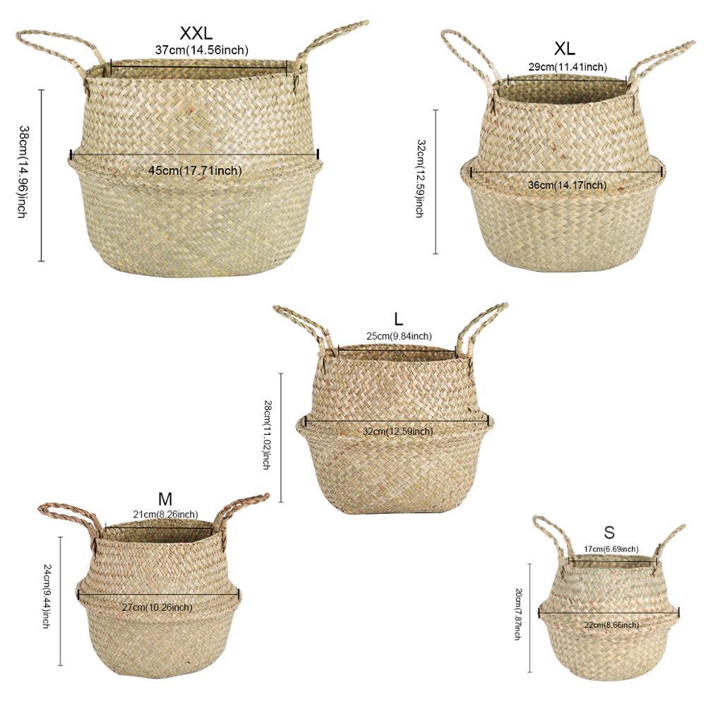 Ручная работа плетение хранение корзина складывание цветок горшок кашпо растение горшок солома плетение корзина ротанг водоросли корзина декоративный