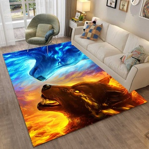 4 Type 3D Printing Bedroom Rugs Large Cat Eyes Wolf Skull Carpets Modern Halloween Party Anti-slip Floor Rug Home Decor Mats