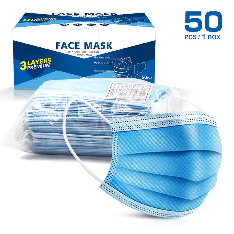 10/50pcs 3 Layers Disposable Mask Non-woven Face Mask Personal Outdoor Protect Dustproof Healthy Care Masks In Stcok