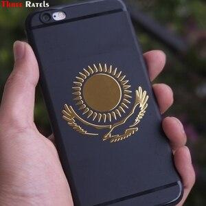 Image 4 - Tre Ratels MT 030 #49*55mm 1 2 pezzi la bandiera del Kazakistan in metallo dorato nichel auto sticker adesivi auto