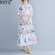 NYFS 2020 New Summer dress Fashion Loose Women Chiffon dress Dot Pring long Dress Vestidos
