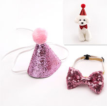 2Pcs/set Pet Dogs Caps With Bowknot Cat Dog Birthday Costume Sequin Design Headwear Cap Hat Christmas Party Pets Accessories(China)