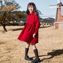 Robe dautomne pour filles, tenue de princesse tricotée, en coton, à col roulé, pour enfants, superbe collection 2020, #5673