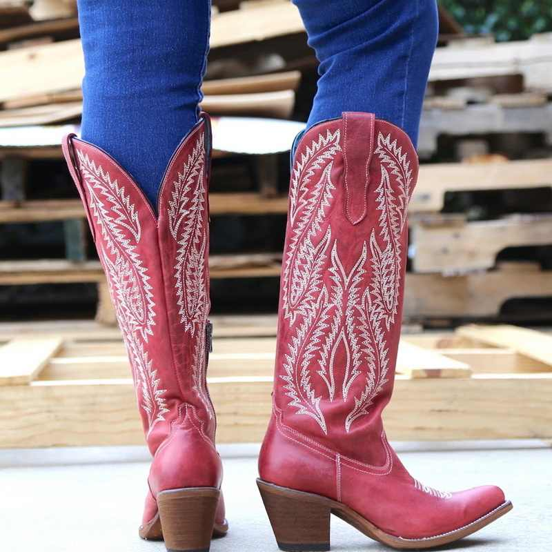Puimentiua Ladies Boot Classic Embroidered Western Cowboy Boots Women Leather Cowgirl Boots Low Heel Shoes Knee High Woman Boots
