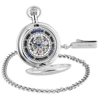 KS Ретро Лук Корона серебро 12 созвездий Скелет ручной обмотки Механические карманные часы брелок цепи ювелирные изделия/KSP075