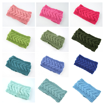 Twist knitted woolen headband ear protection headgear elastic handmade warm autumn winter hairband ride sports hair accessories image