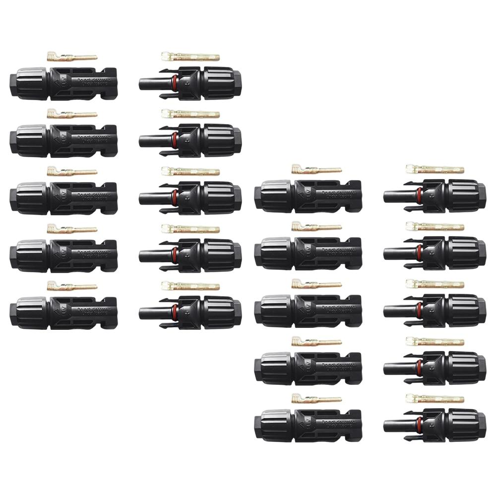 Источник питания EASUN 10 пар гнездовых разъемов, панели солнечных батарей 30A 1000 В для PV кабеля 2,5/4/6 мм, аксессуары для кабеля