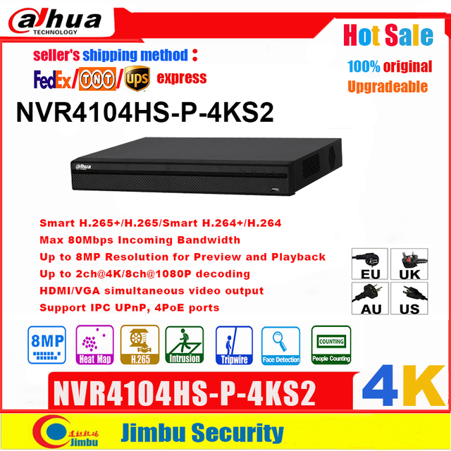 Dahua NVR P2P 4K poe Network Video Recorder NVR4104HS P 4KS2  4CH  4 POE Port H.265/H.264 Up to 8MP For IP Camera